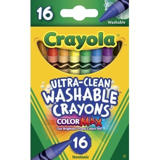 Crayola Non-Toxic Washable Crayon Set, 5/16 X 3-1/2 in, Assorted Color, Set of 16