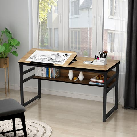 Computer Desk with Storage Shelf Drafting Table
