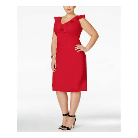 LOVE SQUARED Red Sleeveless Below The Knee Sheath Dress Size 3X