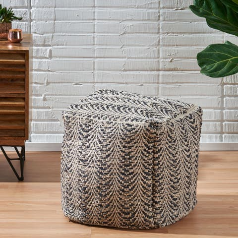 Hooper Boho Fabric Cube Pouf by Christopher Knight Home