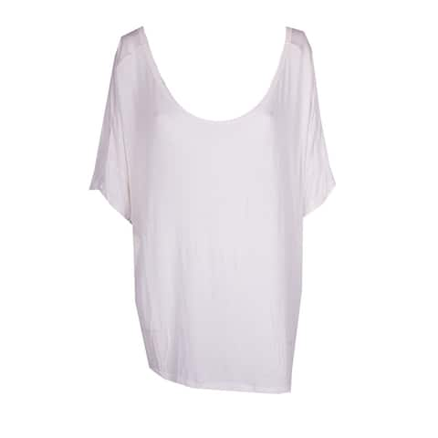 Extra Touch White Short-Sleeve Lattice-Back T-Shirt 2X