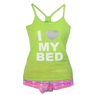 Memoi Women's Love My Bed Tank and Short Pajama Set - Green