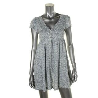 Denim & Supply Ralph Lauren Womens Babydoll Dress Floral Print Button-Front