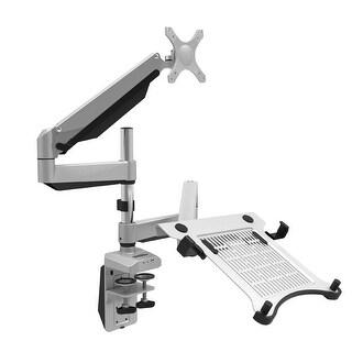 "Loctek D7DP Swivel Dual LCD Arm Desk Laptop Mount Monitor Stand Fits 10""-27"" Computer Screen & 10.1""-17.3"" Notebook"