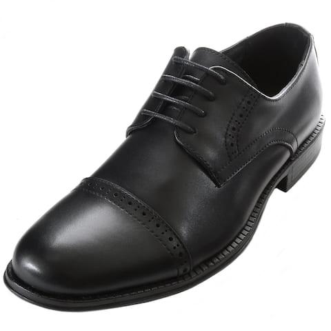 Alpine Swiss Arve Mens Genuine Leather Lace up Oxford Dress Shoes Brogue Cap Toe - Black