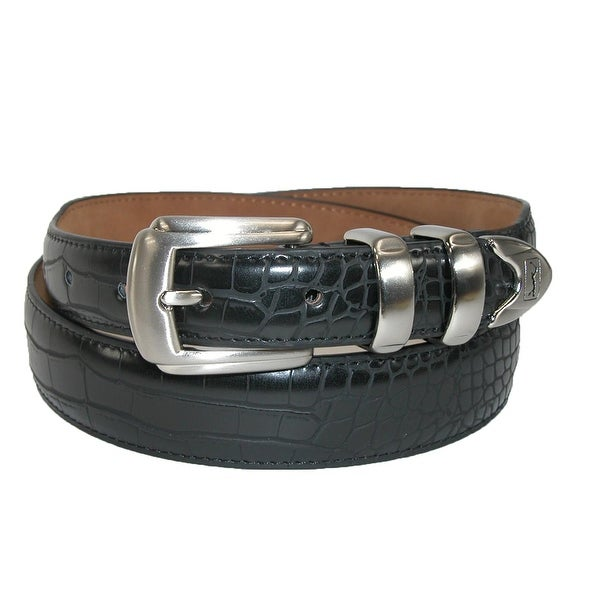 PGA TOUR Men's Croc Print 4 Piece Dress Belt with Tapered End
