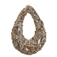 """7.5"""" Golden Encrusted Sequins and Jewels Hoop Christmas Ornament - brown"""