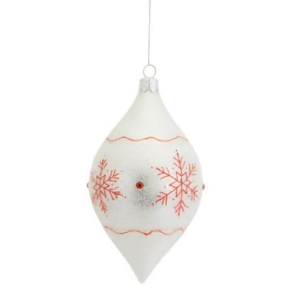 "6"" Stylish Ivory Glitter Snowflake Glass Finial Christmas Ornament - WHITE"