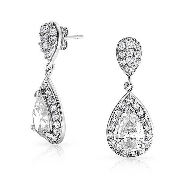 f50f7d2a04 Shop Bridal Prom Pave CZ Halo Teardrop Cubic Zirconia Dangle Drop ...