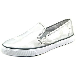 Sperry Top Sider Seaside Women Round Toe Leather Silver Sneakers
