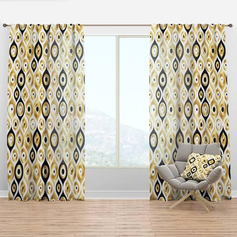 Designart 'Golden Art Deco Metallic Luxury Geometrics' Mid-Century Modern Curtain Panel
