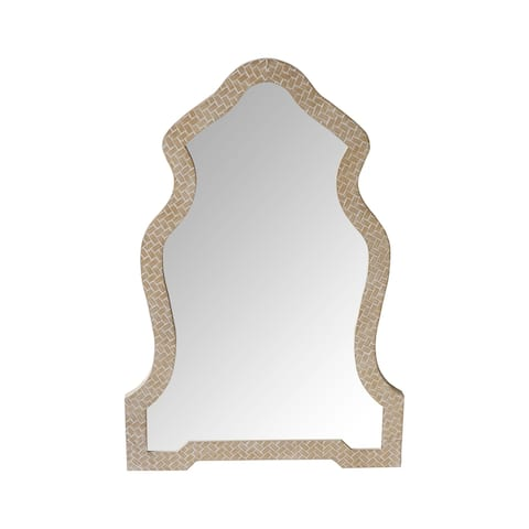 Scalloped Top Wooden Framed Wall Mirror with Geometric Texture, Brown