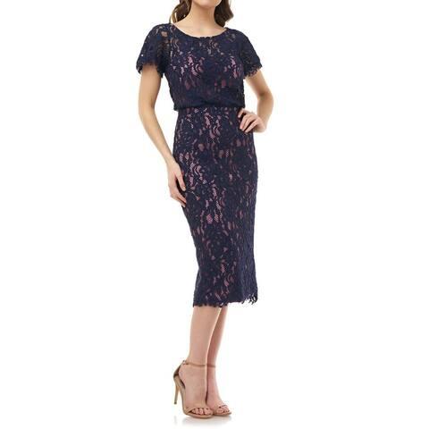 JS Collections Women's Sheath Dress Pink Blue Size 10 Floral-Lace