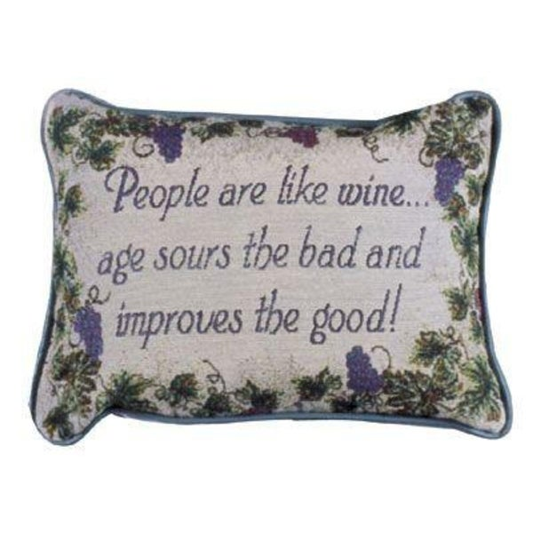 """Set of 2 """"People Are Like Wine"""" Getting Older Decorative Throw Pillows 9"""" x 12"""""""