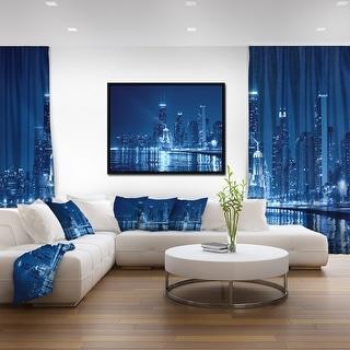 Designart 'Blue Chicago Skyline Night' Cityscape Photo Framed Canvas Print