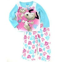 The Peanuts Little Girls Blue Puppy Character Paw Print 2 Pc Pajama Set