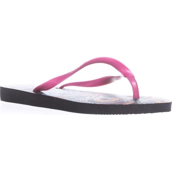 Havaianas Slim Lace Flip Flops, Black/Pink - 6 us / 37 eu