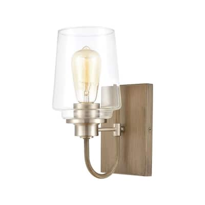 1 Up Light Bath Sconce With Light Wood/Satin Nickel Finish With Clear