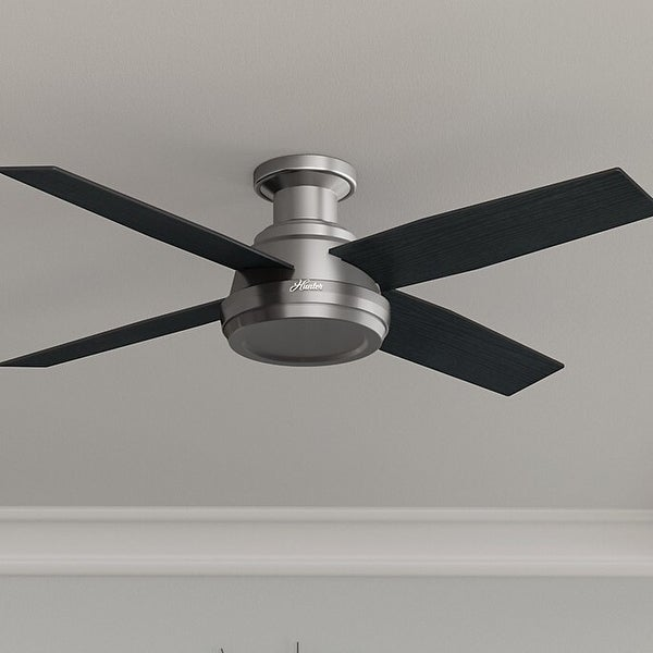Hunter Fan Dempsey Collection 52-inch Low Profile Brushed Nickel Ceiling Fan with 4 Black/Chocolate Oak Reversible Blades. Opens flyout.