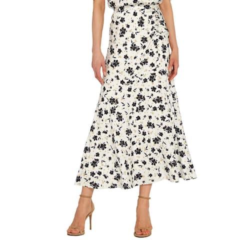 Ml Monique Lhuillier Floral Midi Skirt