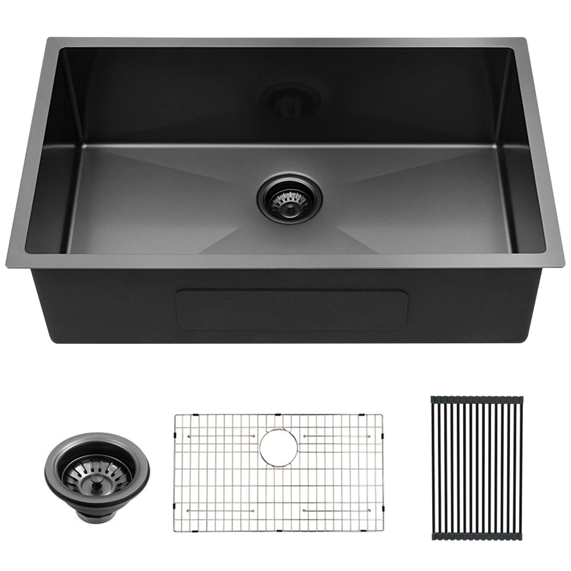 Lordear 30 Inch Kitchen Sink Undermount Gunmetal Black 16 Gauge Stainless Steel Round Corner Single Bowl Kitchen Sink Basin On Sale Overstock 31706139
