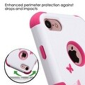 Insten Pink/ White Butterfly Dancing Tuff Hard PC/ Silicone Dual Layer Hybrid Case Cover with Stand For Apple iPhone 7 - Thumbnail 4