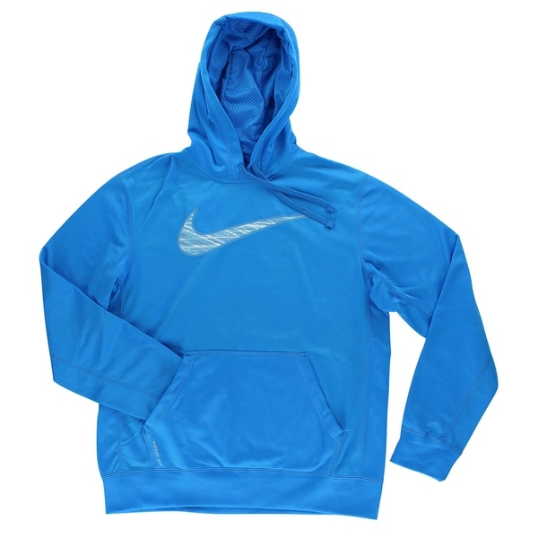 8b09116c51ea Shop Nike Mens Therma Fit Knockout Swoosh Blur Hoodie Sky Blue - Sky Blue White  - Free Shipping Today - Overstock - 22545075