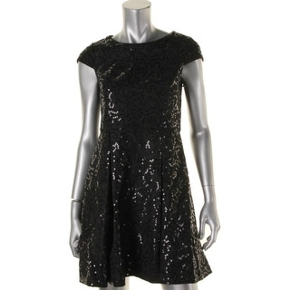 Calvin Klein Womens Petites Sequined Lace Cocktail Dress - 6P