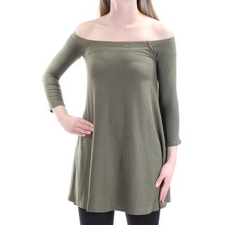 Womens Green 3/4 Sleeve Off Shoulder Tunic Top Size 2XS