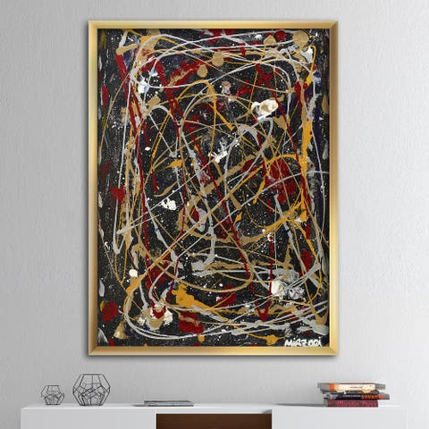 Designart 'Red, Yellow and Black Pollock Style I' Modern & Contemporary Framed Art Print