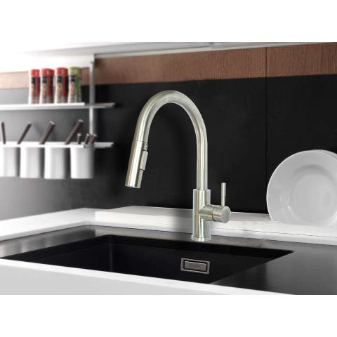 WMF-8101SS-BN - Stainless Steel Kitchen Sink Faucet Single Handle with Pull Down Sprayer & Ceramic Cart Brushed Nickel Finish