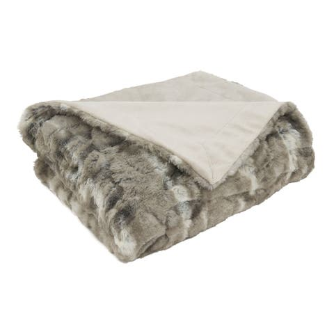 Throw Blanket With Faux Mink Fur Design
