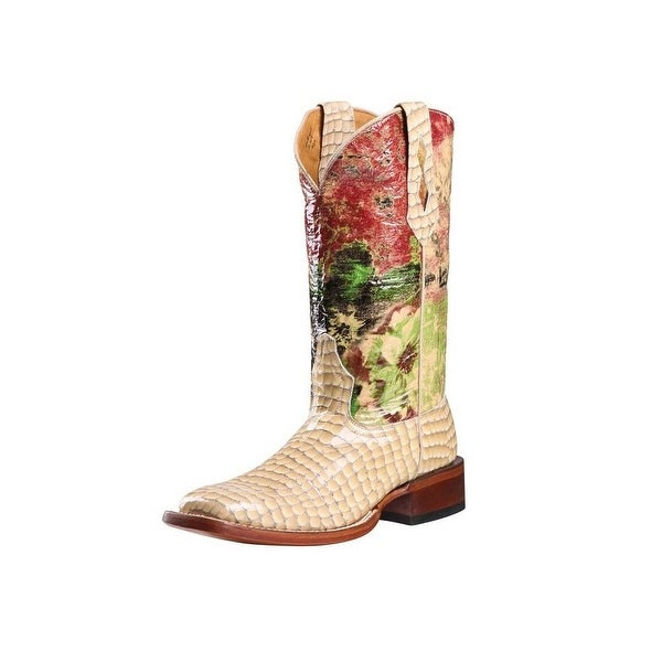 Johnny Ringo Western Boots Womens Gavial Croco Porcelain