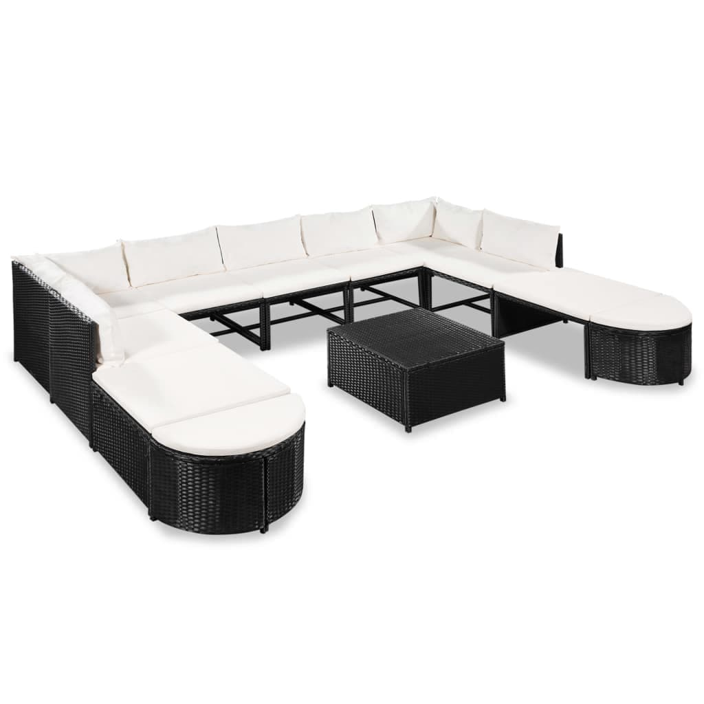 vidaXL Garden Sofa Set 32 Pieces Poly Rattan Wicker Outdoor Furniture Lounge