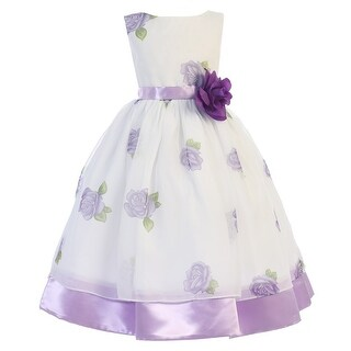 Little Girls Purple Rose Print Chiffon Satin Flower Girl Easter Dress