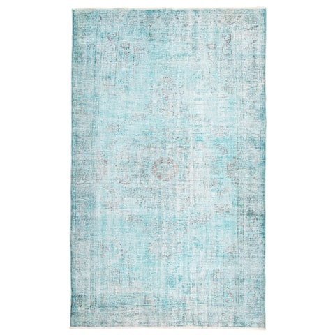 ECARPETGALLERY Hand-knotted Color Transition Aqua Wool Rug - 6'1 x 9'1
