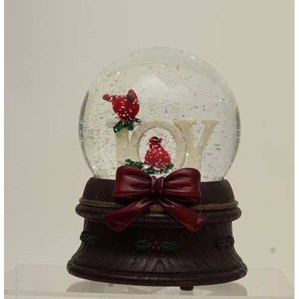 """5.5"""" Musical White Doves on a Branch Christmas Snow Globe - brown"""