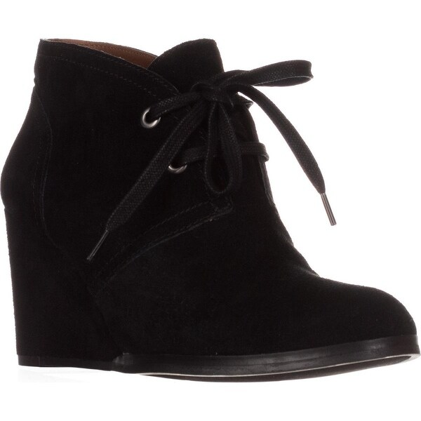 Lucky Brand Seleste Lace Up Wedge Booties, Black