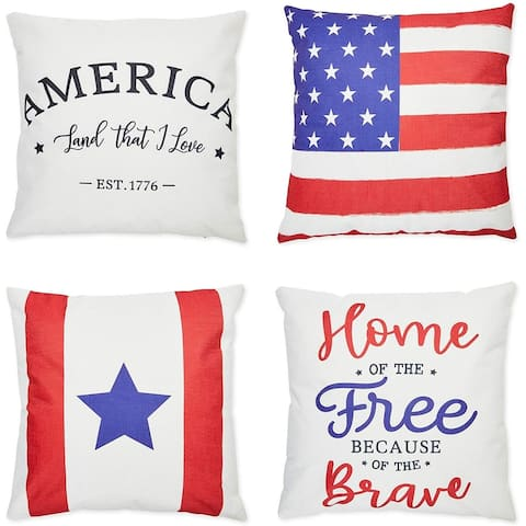 Farmlyn Creek Decorative Throw Pillow Covers, Patriotic Home Décor (18 x 18 in, 4 Pack)