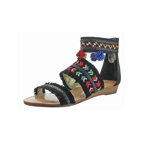 Carlos by Carlos Santana Womens Tangier Gladiator Sandals Pom-Pom Three Piece