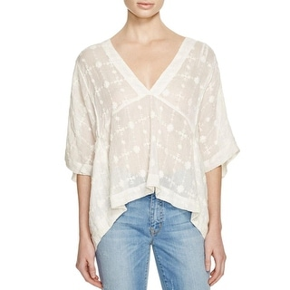 Free People Womens Casual Top Cropped Embroidered