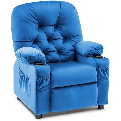 Mcombo Big Kids Recliner Chair with Cup Holders for Girls and Boys 3+ Age Group, 2 Side Pockets, Velvet Fabric, 7311
