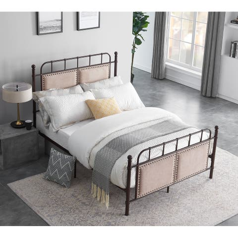 Chocolate Industrial Flavor Bed Frame With Sponge Filling Headboard