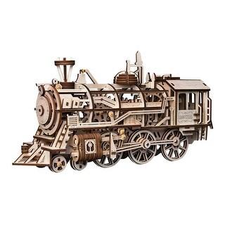 Magnote Rokr Locomotive Wood Craft Kit - Laser Cut Train Model Building Set - beige - 14.5 x 7.3 x 5.7
