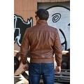 Mens Bomber Leather Fashion Jacket Brown FJ3 - Thumbnail 4