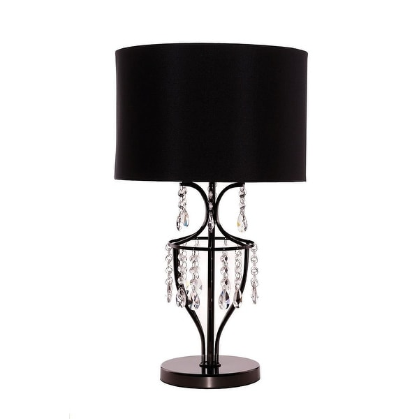 Elena crystal chrome table lamp with black shade living - Black table lamps for living room ...