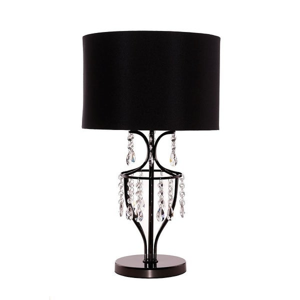 Shop Elena Crystal Chrome Table Lamp With Black Shade Living Room Dining Room Bedroom Lamp