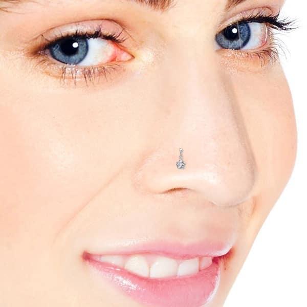 Sterling Flower Nose Stud ~ Beaded Flower Sterling Silver Nose Screw ~ Nostril Piercing