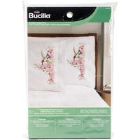 "Stamped Embroidery Pillowcase Pair 20""X30""-Hummingbird Floral"