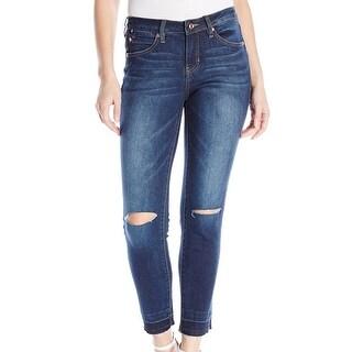 Jag NEW Blue Dark Women's Size 12 Slit-Knee Frayed Skinny Denim Jeans
